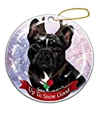 Holiday Pet Gifts Black and White French Bulldog Dog Porcelain Christmas Ornament