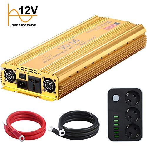 USXUS Convertisseur 12v 220v, 2000W Convertisseur 12v 220v Pur Sinus, Transformateur 220v 12v Rechargeable Avec prise EU et connexion USB, Transformateur 12v 220v, Puissance de crête 4000W