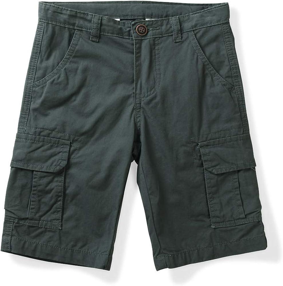 Phorecys Boys' Pull On Cargo Shorts Classic Cotton Elastic Waistband Multi-Pockets