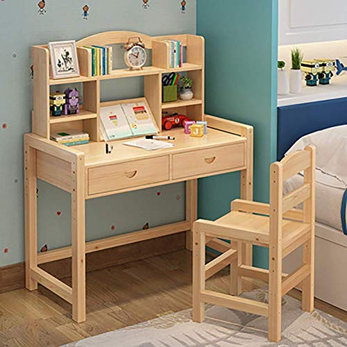Daily Equipment Childrens Desk and Chair Set Made of Pine Wood with Hutch and Shelves 5 Stage Adjustable Study Table 3 Stage Adjustable Chair Kids Bedroom Furniture Logs 80X50X75Cm Wa* Oil 80 * 50