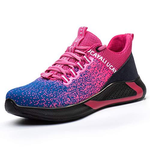 UCAYALI Zapato de Seguridad Mujer Zapatilla de Trabajo con Punta de Acero Ligero Antideslizantes Calzado Industrial Transpirable(Camuflaje Rosado, 35 EU)
