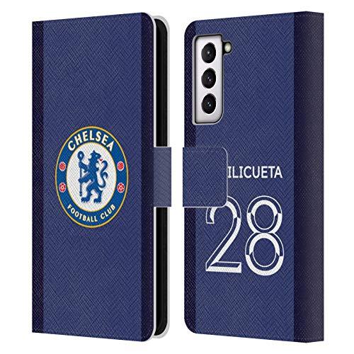 Head Case Designs Licenciado Oficialmente Chelsea Football Club César Azpilicueta 2020/21 Players Home Kit Group 2 Carcasa de Cuero Tipo Libro Compatible con Samsung Galaxy S21 5G