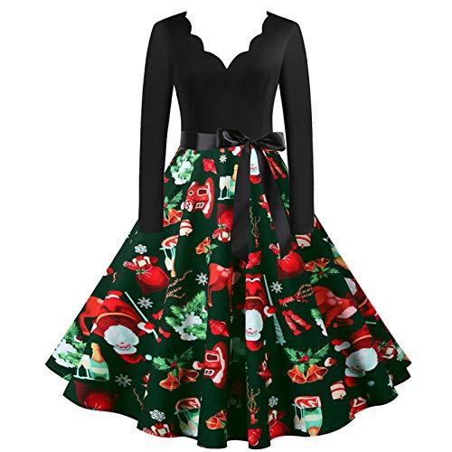 Dicomi Party Kleid Damen 2020 Weihnachtskleid V-Ausschnitt Weihnachten Musical Notes Print Vintage...