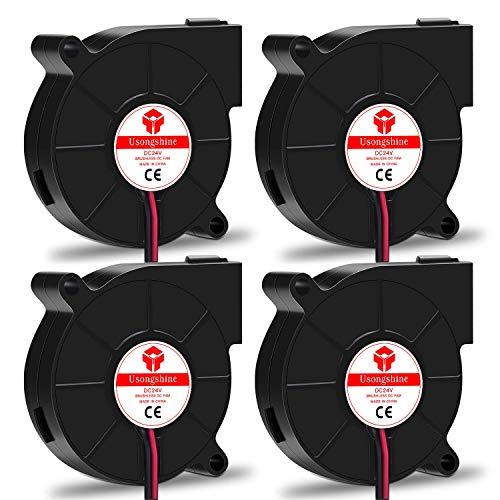 Usongshine Lüfter 3D Drucker Lüfter Gebläse Turbo Kühler Kühlung Ventilator 24V DC 2 Pin, 50 x 50 x 15mm 3D Druckerzubehör (4 Stück mit Schrauben)