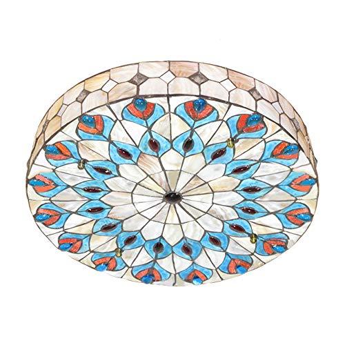 Lámpara de techo Tiffany de 20 pulgadas de ancho, estilo vintage, de Nikoyao, hecha a mano, con pantalla de pintura en forma de cola de pavo real
