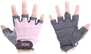 FunWay Paired Women Girls Sports Fitness Half Finger Gloves for Body Building Weightlifting Cycling Gym Training Exercise