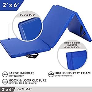 Day 1 Fitness Folding Gymnastics Gym Mat – 2'x6' Royal Blue - High-Density Foam, Exercise, Yoga, Gymnastics, Crossfit, Aerobics, Tumbling Mats - Eco-Friendly Foldable Pads