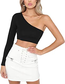 Women's One Shoulder Long Sleeve Crop Tops Casual Plain Tees