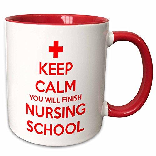 3dRose mug_216316_5 Keep Calm You Will Finish Nursing School Mug, 11 oz, Red