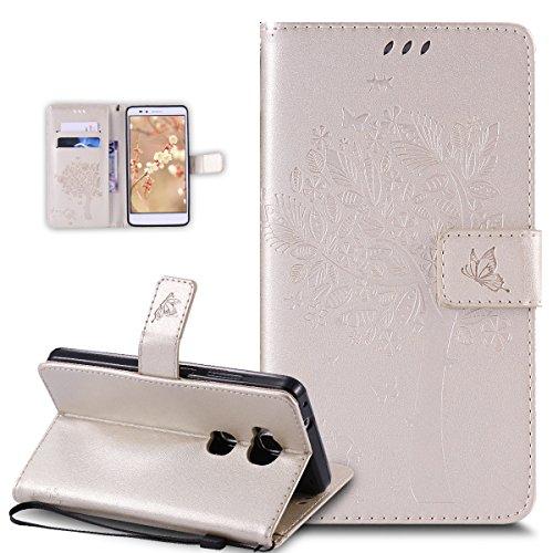 Kompatibel mit Huawei Honor 5X Hülle,Huawei Honor 5X Schutzhülle,Prägung Katze Schmetterlings Blumen PU Lederhülle Flip Hülle Handyhülle Ständer Tasche Wallet Hülle Schutzhülle für Huawei Honor 5X,Gold