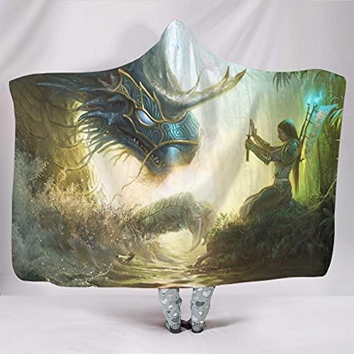kikomia Manta de peluche con capucha, diseño de dragón, para niñas, guerrero, con capucha, color blanco, 130 x 150 cm
