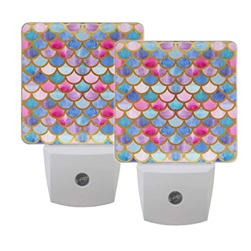 Naanle Set of 2 Mermaid Scales Fish Scales Bright Summer Gold Auto Sensor LED Dusk to Dawn Night Light Plug in Indoor for Adults