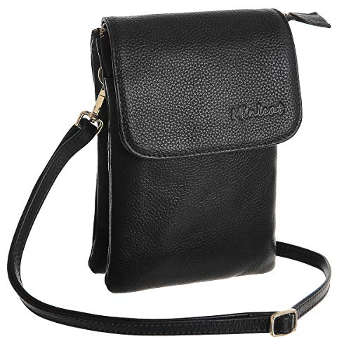 MINICAT Leather Small Crossbody Bags RFID Blocking Cell Phone Purse Wallet for Women(Yah Leather-Black)