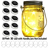 YITING Upgraded Solar Mason Jar Lid Lights, 10 Pack 30 LED Fairy Star Firefly String Lids Lights Including (10 pcs Hangers and 6 pcs PVC),for Wedding Patio Garden Party Decorations (No Jars)