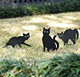Homarden Garden Scare Cats – Humane Pest Control Outdoor Statues with Reflective Eyes (Set of 3)