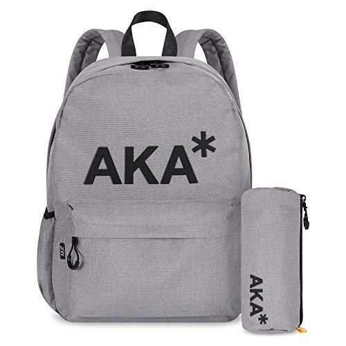 AKA* Berwick Backpack - Grey Waterproof School Bag with Laptop Compartment & Free Pencil Case - Designer Schoolbag
