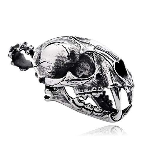 TAOYATAO Collar con colgante de calavera de tigre con dientes de sable de acero de titanio para hombres y mujeres, estilo punk, accesorios de personalidad, collar y cuenta, cordón