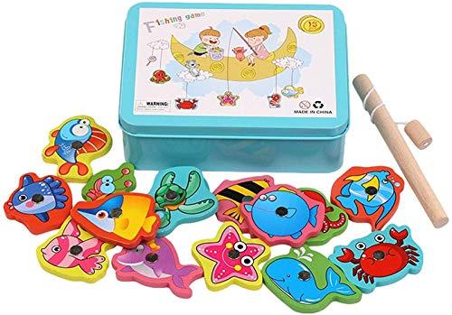 Juego de pesca magnética para niños pequeños, juguetes de pesca de madera para niños, juego de juguetes de madera juego, educación enseñanza y aprendizaje de colores océano mar animales, rompecabezas