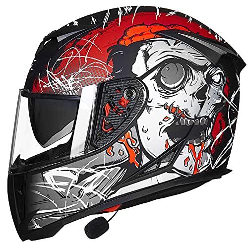 NBMNN Casco de Moto,Casco de Motocicleta con Bluetooth Flip Up, con Visera Completa Protección Rayos UV para Hombres y Mujeres Adultos,Certificacion Dot E,M=54~56CM