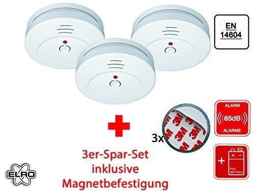 3er Set optischer Rauchmelder inkl. Magnethalter, EN 14604, 85dB, RM144C Set-3