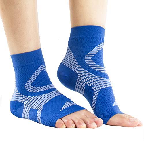 UONNER Sprunggelenk Bandage, Knöchelbandage, Fußbandage für Damen Herren Kompressionssocken Compression Socks Laufsocken für Sport Fitness (Blau weiß, L(22cm-25cm))