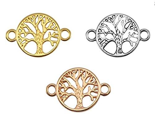 Nuoli Schmuckverbinder Lebensbaum Set (3 Stück) Armband Zwischenstück Baum 22 x 15mm, DQ Metall Anhänger, je 1x Silber, Rosegold, Gold