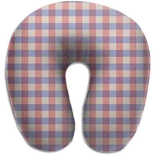 Simone-Shop Rood Blauw texturen U-vormig nekkussen zacht neksteunend reiskussen voor thuis, nekpijn U-vormig kussen 29 * 30 * 10 cm