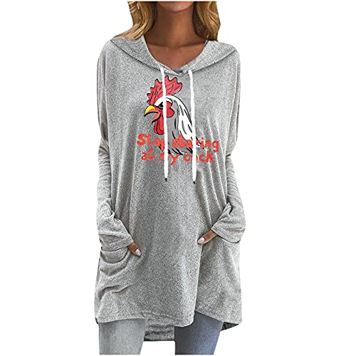 Cute Rooster Print Sweatshirt for Women Fall Thin Hooded Casual Pullover Long Blouses Tunic Tops to Wear with Legging Gray