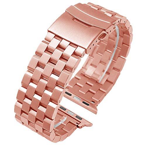Kai Tian Edelstahl Armband Herren 42mm 44mm Roségold Sport Schlaufe Metall Armbanduhr Damen Handgelenk Uhrband kompatibel for Apple Watch Series 5 4 3 2 1