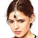 Chargances Halloween Forehead Jewelry Bridal Boho Headpiece Wedding Hair Accessory Bridal Headpiece Indian National Style Beauty Teardrop Headpiece Taira for Wedding Decorative Hair Clip Boho Hair Pin