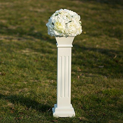 "Cloud Mountain Roman Venetian Decoration Wedding Ceremonies Stage Props Column Holds Flower Plates Pillars 26"" Tall, White"