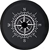 Pike Outdoors JL Series Spare Tire Cover with Backup Camera Hole Compass Sun Dial Black 32 in