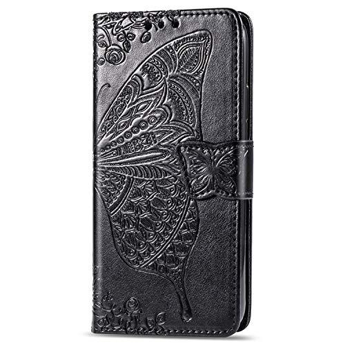 Snow Color LG G8 ThinQ Hülle, Premium Leder Tasche Flip Wallet Case [Standfunktion] [Kartenfächern] PU-Leder Schutzhülle Brieftasche Handyhülle für LG G8 - COSD010439 Schwarz