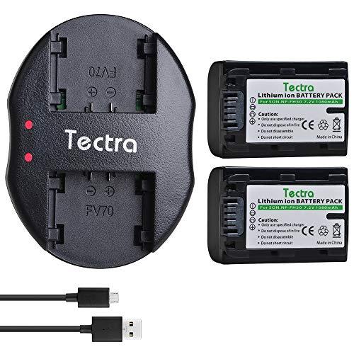 Tectra 2-Pack NP-FH50 Replacement Battery and Dual USB Charger for Sony NP-FH30 NP-FH40 NP-FH50 NP-FH70 NP-FH100 and Sony Cyber-Shot DSC-HX1 HX100V DSC-HX200 HX200V, Sony Alpha DSLR-A230 DSLR-A290