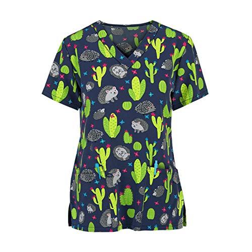 duquanxinquan Damen Arzt Uniform Berufsbekleidung Krankenschwester Kleidung Schlupfhemd Kasack, S-3XL verfügbar, mit Motiv Bedruckt (Grün, M)