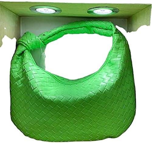 Woven PU Leather Bag Knoted Women Handbag Luxury Brand Woven Handmade Hobo Hand Clutch Bag Fashion Shoulder Bag Purse (Green, L)