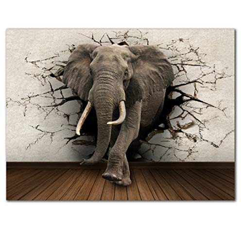 Wall Decor 3D Animal Elephants Canvas Painting Wall Art Poster and Prints Art for Home Decor Poster Picture Bedroom