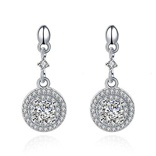 NYKKOLA Pendientes de plata de ley 925 con colgante redondo de cristal de circonita cúbica