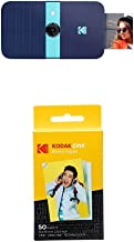 Kodak Smile Instant Print Digital Camera – Blue with Kodak 2ʺx3ʺ Premium ZINK Photo Paper (50 Sheets)