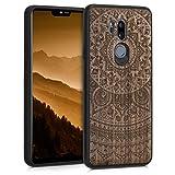 kwmobile Cover compatibile con LG G7 ThinQ/Fit/One - hard-case in legno con bumper TPU - Sole indiano marrone scuro