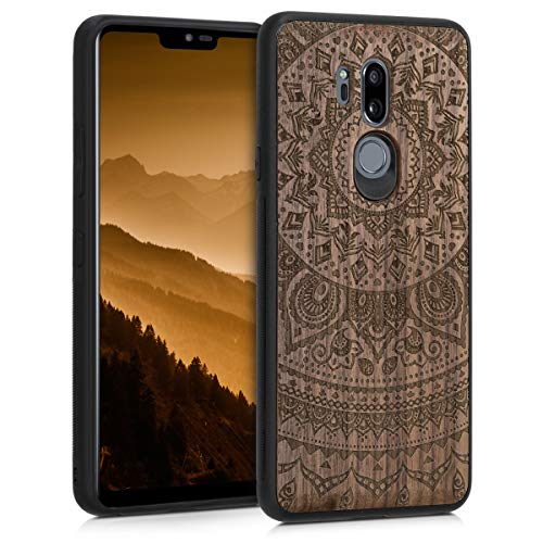 kwmobile Hülle kompatibel mit LG G7 ThinQ/Fit/One - Handyhülle Holz TPU Cover - Indische Sonne Dunkelbraun