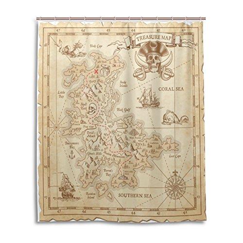 Bad Vorhang für die Dusche 152,4x 182,9cm Vintage Antik Piraten Adventure Schatzkarte Kompass Polyester-Schimmelfest-Badezimmer Vorhang