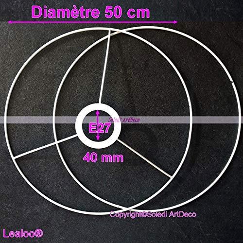 Lealoo Ossature-set, diameter 50 cm, voor lampenkap, grote ringen, rond, epoxyhars, wit, voor fitting 40 mm E27