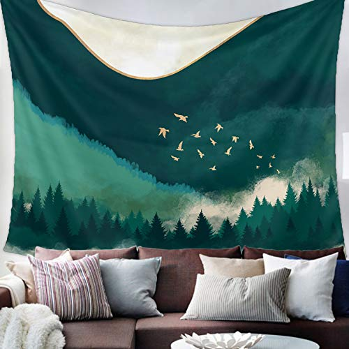 Savannan Tapestry Wall Hanging, Mountain Bird Scenery Ink Painting Watercolor Wall Cloth for Bedroom,Living Room,Dorm,Home Decoration, 55X73 Inch