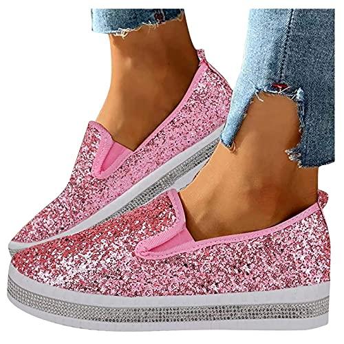 ZBYY Zapatillas de deporte con purpurina para mujer, de verano, de moda, sin cordones, punta redonda, para caminar, cómodas, mocasines planos