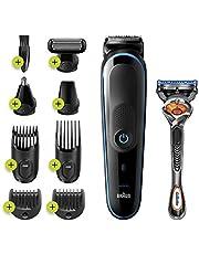 Braun MGK5280 9-in-1 Alles-in-een Trimmer, Baardtrimmer Voor Mannen, Haartrimmer En Bodygroomer, 7 Opzetstukken, Zwart/Blauw