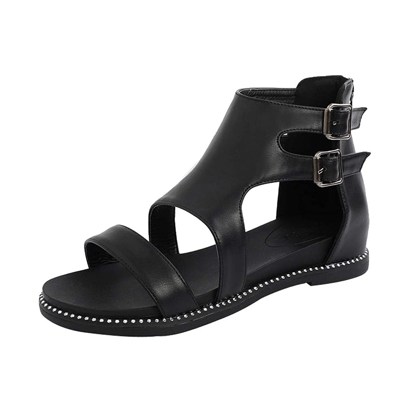 Women's Short Boots Ankle Double Buckle Strappy Shoes Solid Casual Beach Cut Out Open Toe Flat Sandals JHKUNO