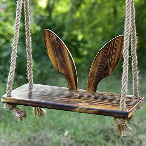 Hignful Children Wooden Tree Swing Adjustable Polished Four-Board Anti-Corrosion Pastoral Wood Swing Seat for Adults Kids Outdoor Indoor Nostalgi 23,6' X 11,8' Round Elmwood