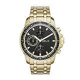 Relic ZR15834 Reloj para Hombre, Extensible Acero Dorado, Caratula Negro, Análogo