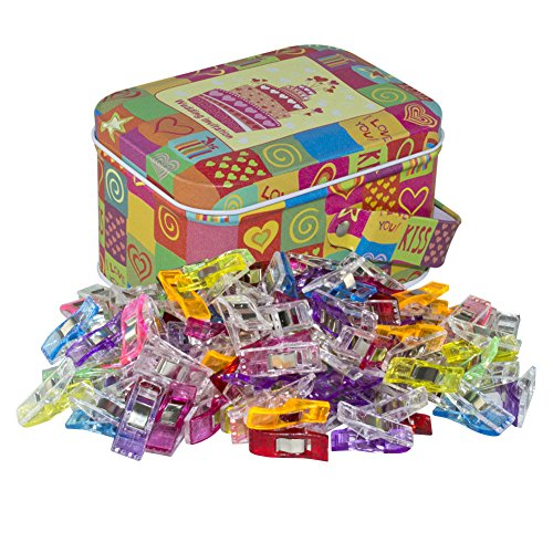 Wonder Clips Multipurpose Sewing Clips Quilting Clips with Tin Box Assorted Colors